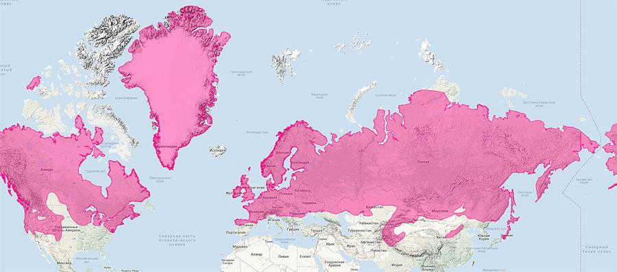 ареал обитания горностая на карте