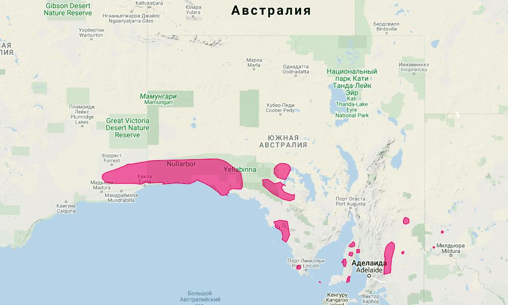 ареал обитания длинношерстного вомбата на карте