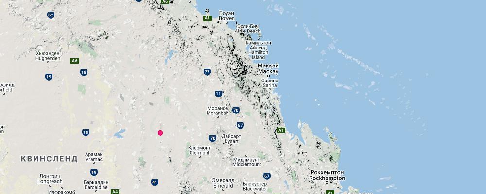 ареал обитания квинслендского вомбата на карте