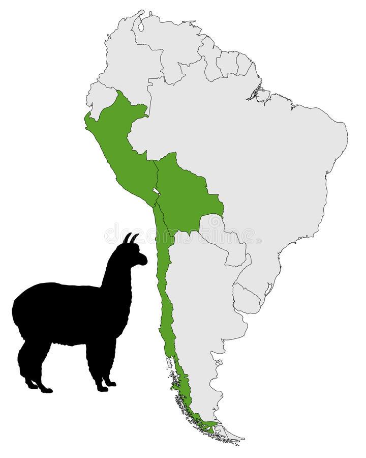 ареал обитания ламы на карте